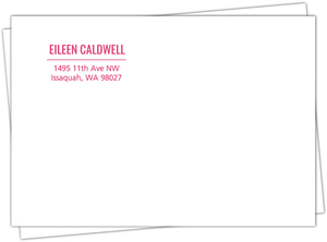 Simple Magenta Typographic Custom Envelope