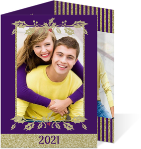 Fancy Gold and Purple Christmas Photo Card