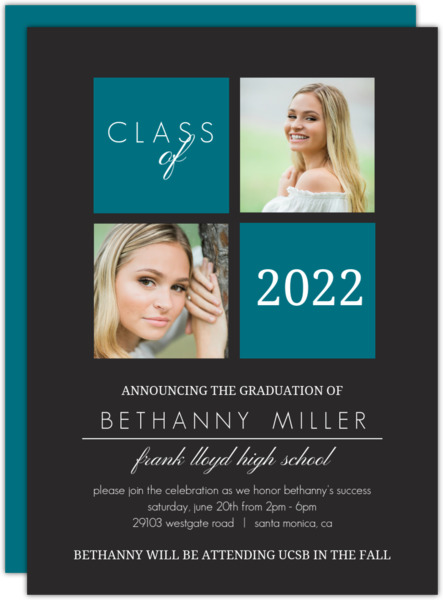Gray and Yellow Graduation Invitation