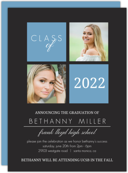 Gray and Yellow Graduation Invitation