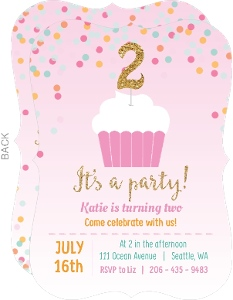 Pink And Gold Cupcake Confetti Custom Birthday Invitation