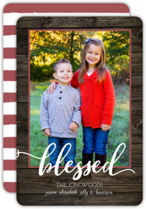 Woodgrain Blessed Photo Christmas Card