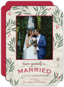 Cream Mistletoe Newly Weds Christmas Photo Card
