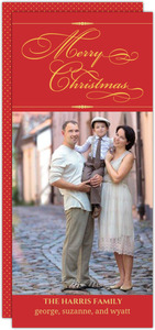 Formal Red Gold Christmas Photo Card