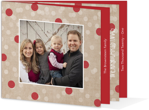 Kraft and Red Glitter Dots Christmas Photo Card