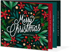 Holly Leaves & Poinsettia Christmas Booklet Card