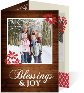 Wood Grain And Poinsettia  Christmas Photo Card
