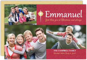 Red Emmanuel Christmas Photo Cards