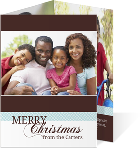 Brown and Blue Christmas Photo Card