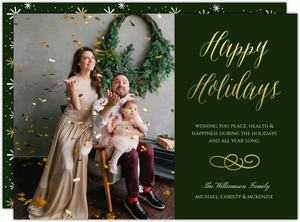 Happy Holidays Gold Foil Family Photo Holiday Card