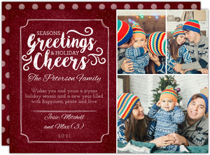 Seasons Greetings Red Chalkboard Christmas Photo Card