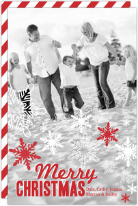 Red and White Snowflakes Christmas Photo Card