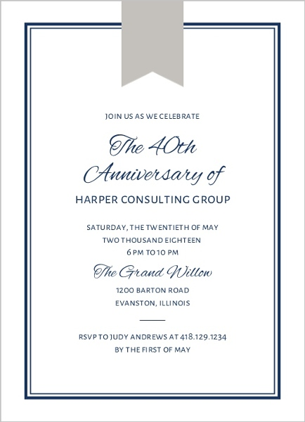 past presidents dinner invitation business event invitations