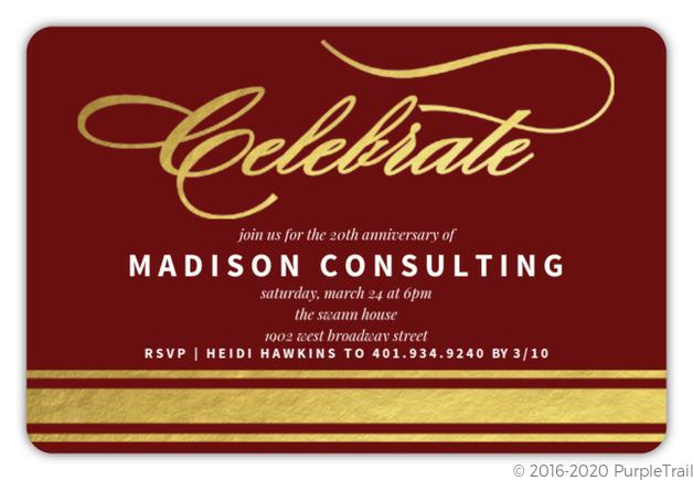 Gold Foil Celebrate Corporate Event Invitation