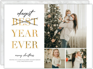 Faux Foil Okayest Year Christmas Card