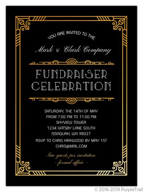 Golden Great Gatsby Corporate Event Invitation