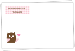 Pink Owl Baby Shower Invite Envelope