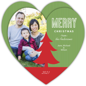 Merry Christmas Tree Christmas Photo Card