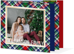 Blue Red Green Plaid Booklet Christmas Card