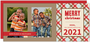 Red Plaid Christmas Photo Card