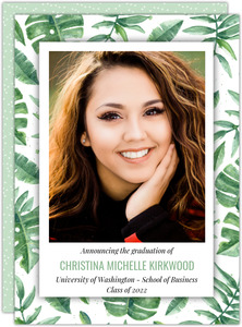 Tropical Watercolor Leaves Graduation Announcement