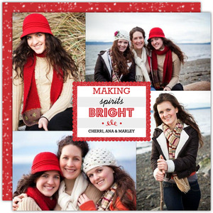 Red Scallop Frame Christmas Photo Card