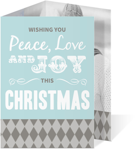 Gray and Blue  Christmas Photo Card