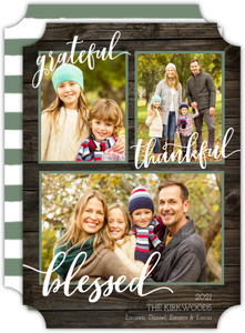 Grateful Thankful Blessed Woodgrain Christmas Photo Card