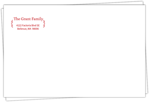 Red Bracket Return Address Envelope