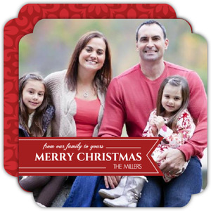 Red Banner Circle Holiday Photo Card