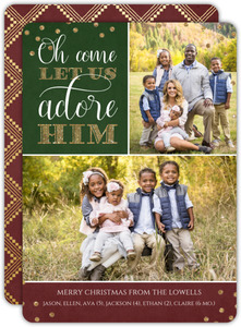 Let Us Adore Him Multi Photo Christmas Cards