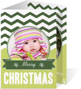 Green Modern Christmas Photo Card