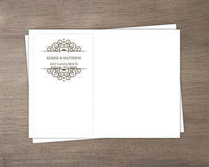 Olive And White Intricate Frame Wedding Envelope