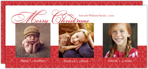 Red Damask Photo Christmas Card