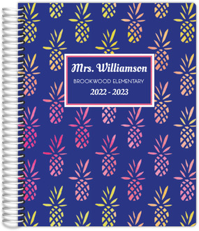 Pink and Yellow Pineapple Pattern Teacher Planner