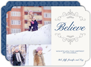 Believe Silver And Blue Christmas Photo Card
