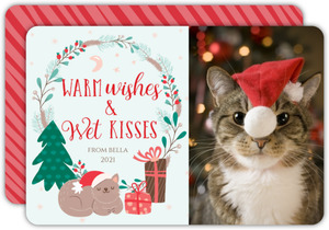 Wishes And Kisses Christmas Photo Card