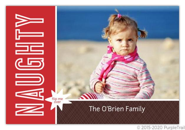 red and brown naughty or nice christmas card - Naughty Or Nice Christmas Card