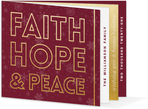 Faith Hope Peace Christmas Booklet Card