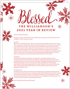Blessed Snowflakes Christmas Letter