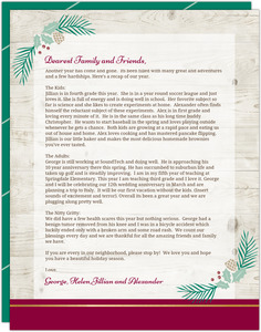 Elegant Wood & Pine Decor Christmas Letter