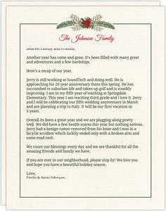 Simplistic Pine Greenery Christmas Letter