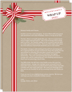Red Ribbon and Foliage Christmas Letter