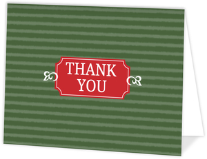 Striped Green Folded Thank You Card