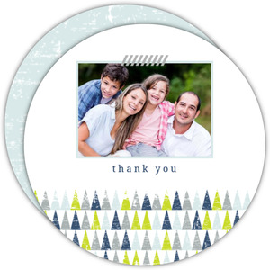 Festive Geometric Trees Holiday Thank You Card