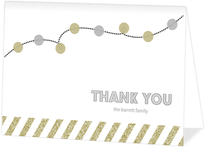Gold And Silver Glitter Lights Holiday Thank You Card