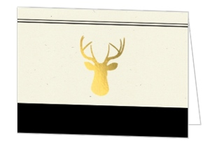 Black And Gold Deer Thank You Card