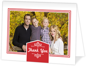 Red Decorative Banner Holiday Thank You Card