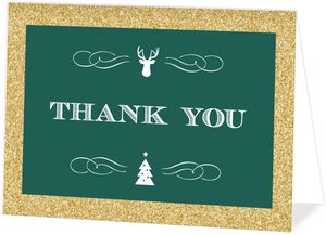Emerald Green and Gold Glitter Holiday Thank You Card