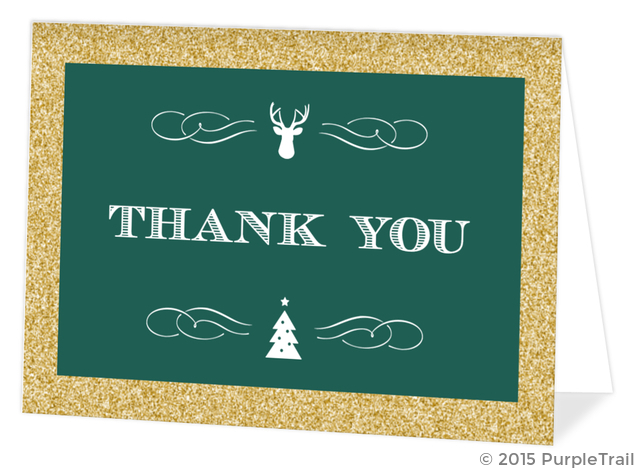 Emerald Green And Gold Glitter Holiday Thank You Card Christmas